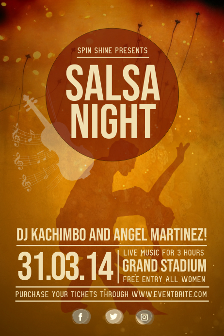 Vintage Salsa Night Poster