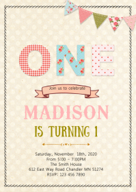 Vintage shabby chic 1st birthday invitation