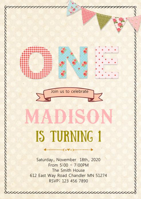 Vintage shabby chic 1st birthday invitation