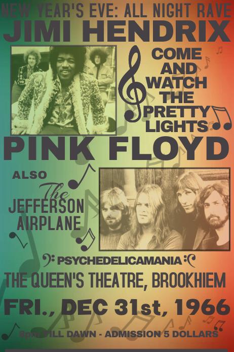 vintage simple 70s 60s concert music fest rock template