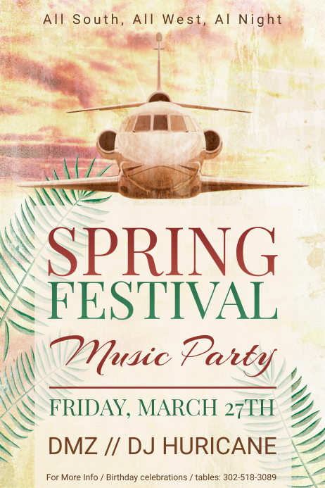 Vintage Spring Music Party Poster Template
