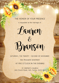 Vintage Sunflower theme invitation A6 template