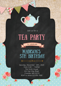 Vintage tea birthday party invitation A6 template