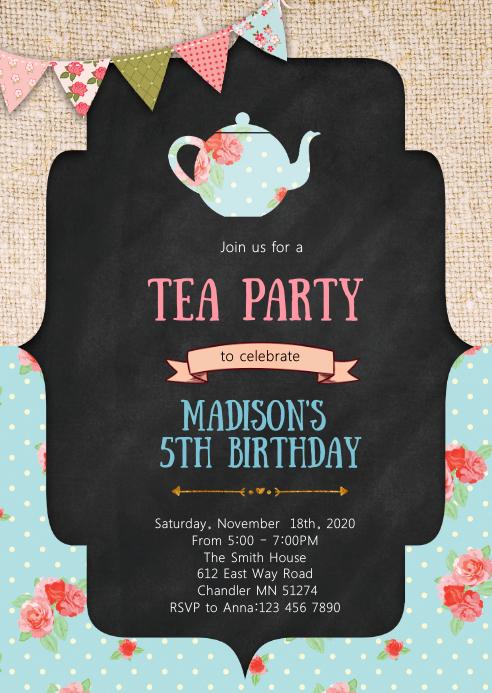 Vintage tea birthday party invitation A6 template