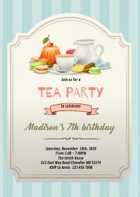 Vintage tea theme birthday invitation