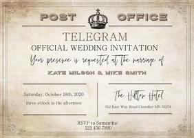Vintage Telegram Style Wedding Invitation