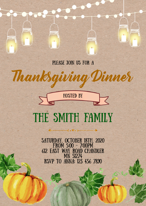 Vintage Thanksgiving Dinner invitation