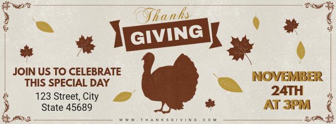 Vintage Thanksgiving Turkey Dinner Facebook Cover