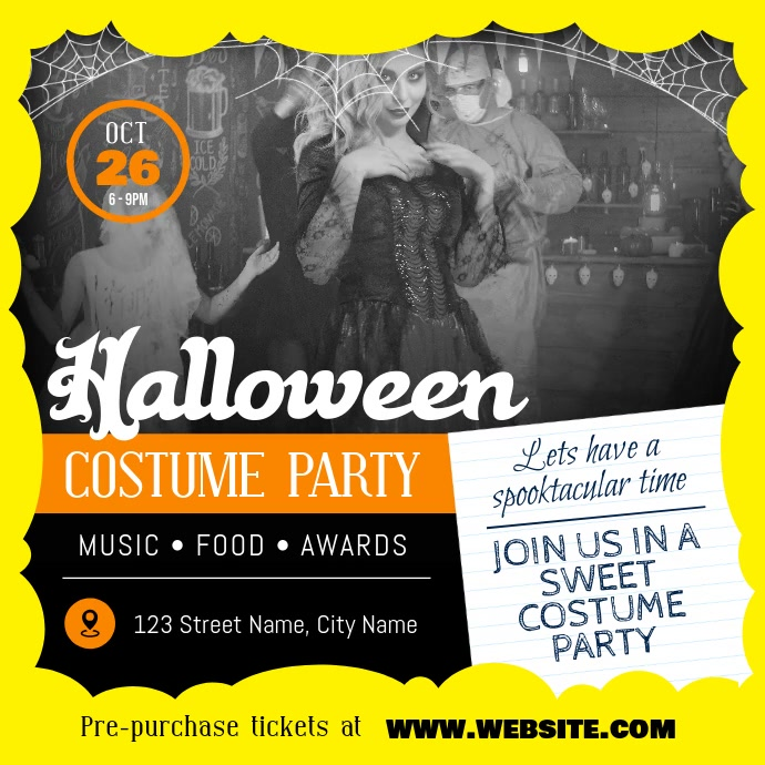 Vintage Themed Halloween Costume Party Square