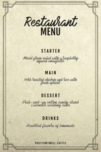 Vintage three course menu