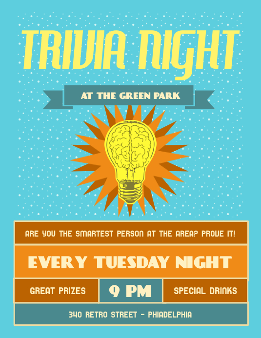 Vintage Trivia Night Flyer Template PosterMyWall