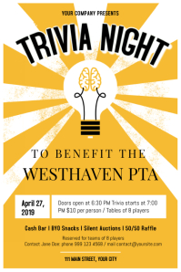 Vintage Trivia Night Poster template