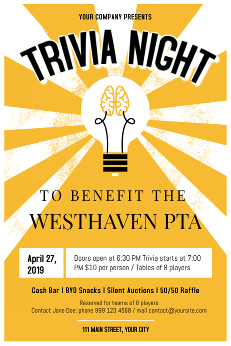 Vintage Trivia Night Poster Template | PosterMyWall