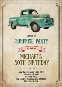 Vintage truck birthday retirement invitation A6 template