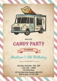 Vintage truck ice cream theme invitation A6 template
