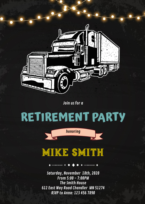 Vintage truck retirement birthday Invitation A6 template