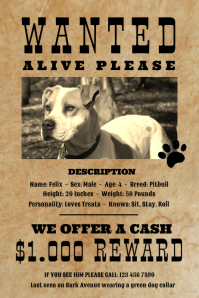 Vintage Wanted Dog Missing Pet Poster template
