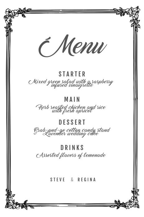 Vintage Wedding menu Template Cartaz