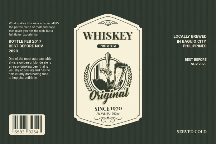 Vintage Whiskey Label Template Etiket