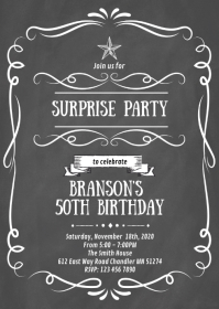 Vintage wine label birthday invitation A6 template