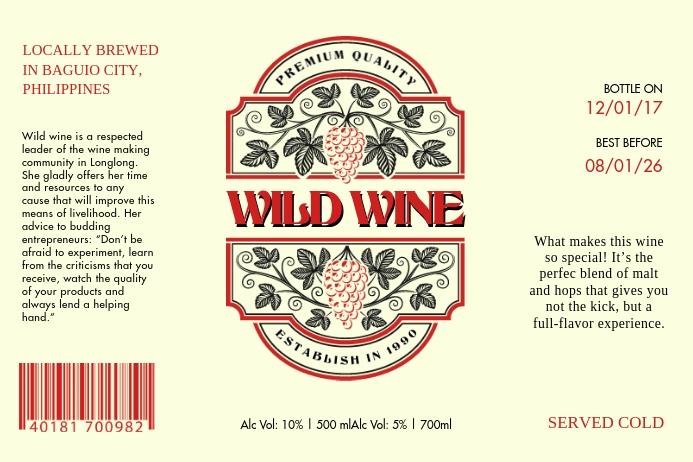 Vintage Wine Label Etiket template
