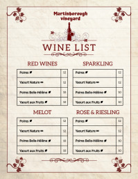 Vintage wine list flyer template