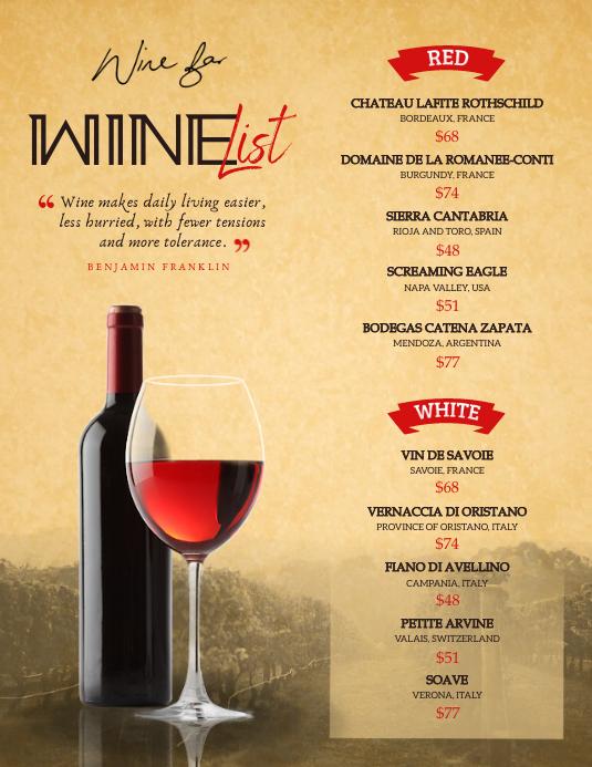 Vintage Wine List Menu Flyer Pamflet (Letter AS) template