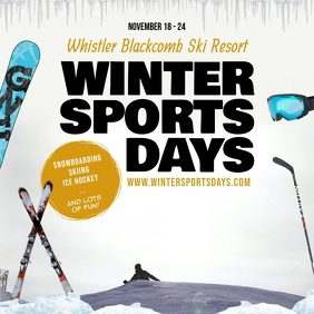 Vintage Winter Sports Advertisement Square Vi