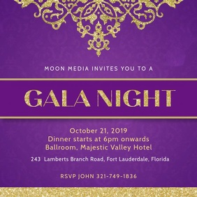 Violet Gala Dinner Invitation Template Square (1:1)
