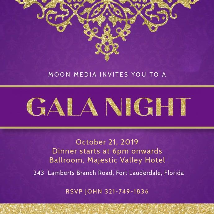 Violet Gala Dinner Invitation Template