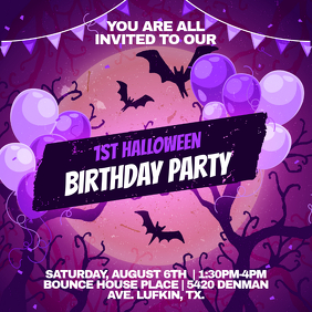 Violet Halloween themed Birthday Invitation Instagram Image