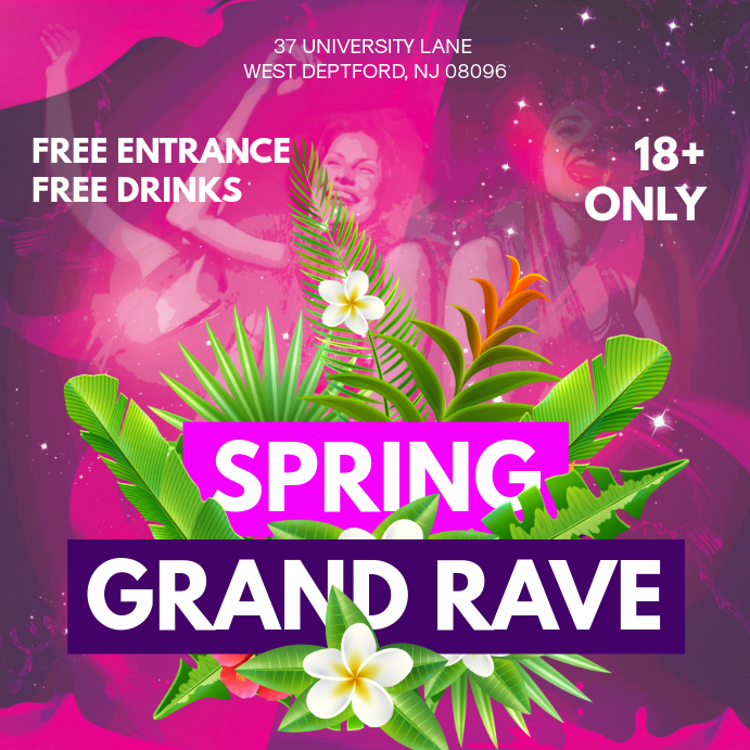 Violet Spring Rave Party Square Invitation