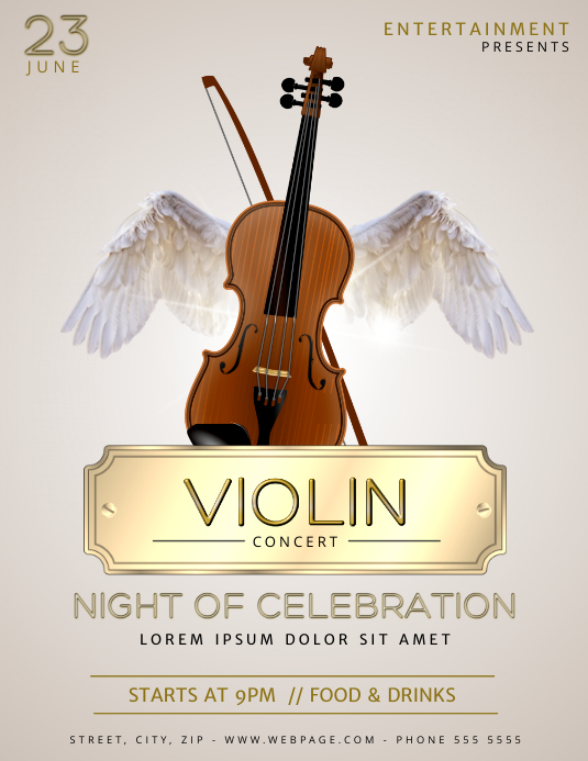 violin concert flyer template postermywall