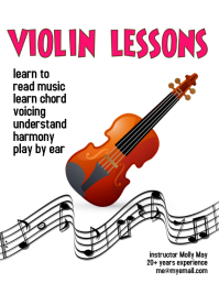 violin lessons flyer template