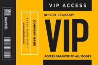 vip pass access template design yellow and gr Spanduk 4' × 6'