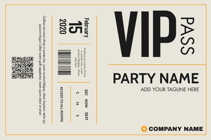 vip pass template design ticket