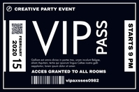 vip pass template white and dark blue colors Cartel de 4 × 6 pulg.