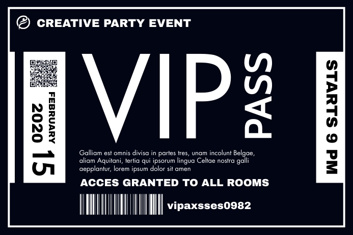vip pass template white and dark blue colors Banner 4' × 6'