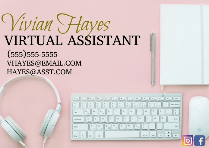 Virtual assistant services business card Kartu Pos template
