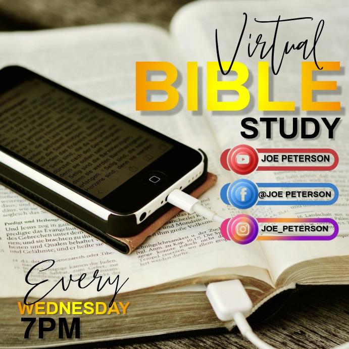 VIRTUAL BIBLE STUDY AD TEMPLATE 方形(1:1)