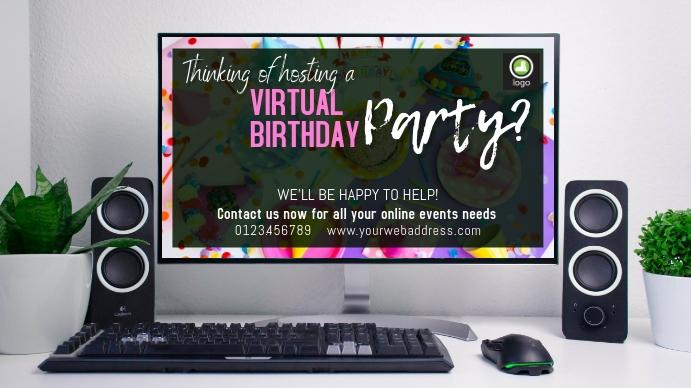 virtual birthday party งานแสดงผลงานแบบดิจิทัล (16:9) template