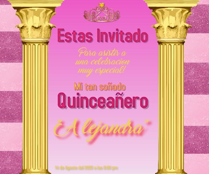 virtual celebration/quinceañera/birthday Persegi Panjang Sedang template