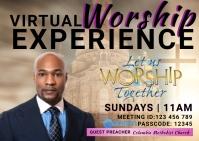 virtual church worship service Kartu Pos template