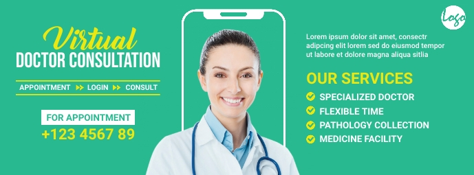Virtual doctor service facebook image template