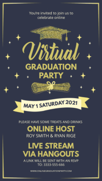 Virtual grad party invite blue Digitalt display (9:16) template