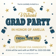 Virtual grad party invite Instagram Plasing template