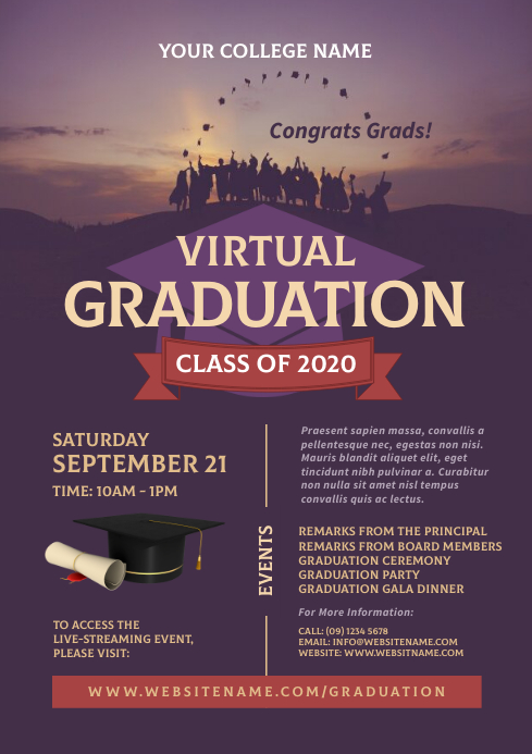 Virtual Graduation Flyer A4 template