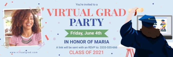 Virtual graduation party invitation banner 横幅 2' × 6' template