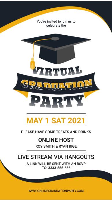 Virtual graduation party online celebration i Digitalt display (9:16) template