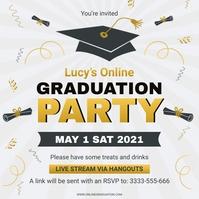 Virtual graduation party with friends online Instagram-bericht template